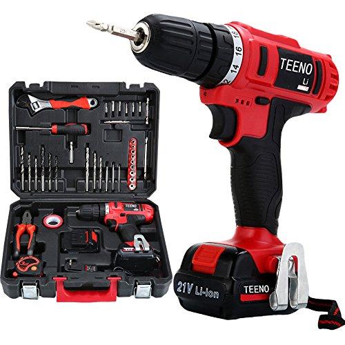TEENO-Perceuse-visseuse-sans-fil-PSR-21V-2-batteries-lithium-41-accessoires-gants-professionnels-0
