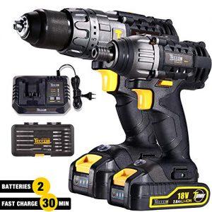 Perceuse-Visseuse-TECCPO-Professional-18V-Perceuse-sans-Fil-60Nm-Visseuse--Chocs-180Nm-2-Batterie-20Ah-29-Asseccoires-Perceuses-combi-30min-Charge-Rapide-Eclairage-LED-intgr-TDCK01P-0