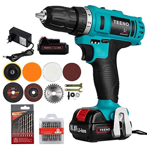 TEENO-Perceuse-visseuse-sans-fil-sur-2batterie-168V-Li-Li-lon-168V-1500-mAh-30-Nm2-vitessesMandrin-10-mm-Eclairage-LED-chargeur-rapide-0