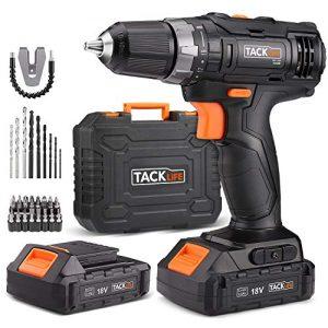 Tacklife-PCD05B-Perceuse-Visseuse-Sans-Fil-18V--2-Vitesses-avec-2-Batteries-Lithium-ion-20-Ah-Charge-Rapide-1h-191-Couples-de-Serrage-Max-30Nm-Mandrin-Mtal-10mm-Accessoires-43pcs-0