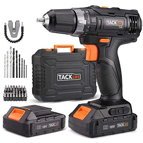 Tacklife-PCD05B-Perceuse-Visseuse-Sans-Fil-18V–2-Vitesses-avec-2-Batteries-Lithium-ion-20-Ah-Charge-Rapide-1h-191-Couples-de-Serrage-Max-30Nm-Mandrin-Mtal-10mm-Accessoires-43pcs-0