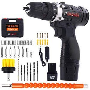 Perceuse-Visseuse-Sans-Fil-GOXAWEE-100Pcs-Kit-Perceuse-Electrique-2-Batteries-Li-ion-12V-1500mAh-Couple-Maxi-30Nm-2-Vitesses-Mandrin-Auto-serrant-10mm-Professionnel-pour-Bricolage-0
