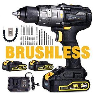 Perceuse-Visseuse-sans-Fil-18V-TECCPO-60Nm-Brushless-Perceuse-a-Percussion-2-Batteries-20Ah-29pcs-d-accessoires-Gratuits-30min-Chargeur-13mm-Mandrin-Auto-bloquant-TDHD02P-0