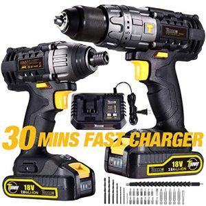 Perceuse-Visseuse-sans-Fil-TECCPO-Professional-18V-Perceuse-sans-Fil-60Nm-Visseuse-a-Chocs-180Nm-2-Batterie-20Ah-29-Asseccoires-Perceuses-combi-30min-Charge-Rapide-0