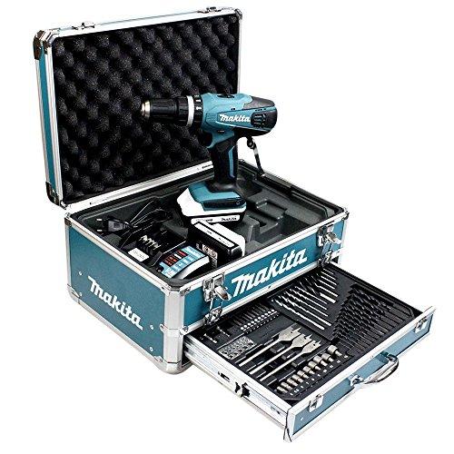 Makita-HP457DWEX4-Perceuse-visseuse–percussion-en-mallette-en-Alu-avec-2-batteries-18-V-13-Ah74-accessoires-0