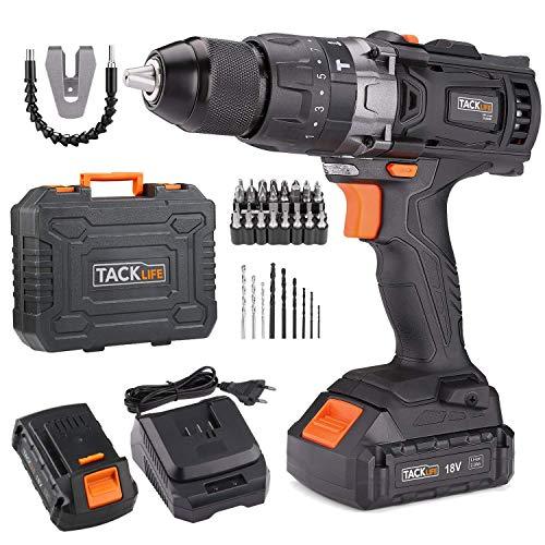 TACKLIFE-Perceuse-Visseuse–Percussion-sans-Fil-18V-avec-43pcs-Accessoires-2-Batteries-au-Lithium-ion-20Ah-Mandrin-Mtal-Auto-srrant-13mm–2-Vitesses-Charge-Rapide-1h-PCD04B-0