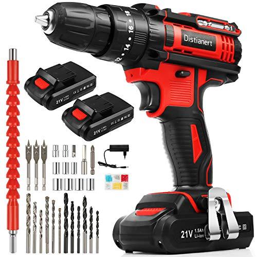Distianert-Perceuse-Visseuse-Sans-Fil-21V-Perceuse-Electrique-avec-2-Batterie-80Pcs-Accessoires-35Nm-183-Rglage-du-Couple-2-Vitesses-Mandrin-Auto-serrant-10mm-pour-Bricolage-Projet-Bton-0